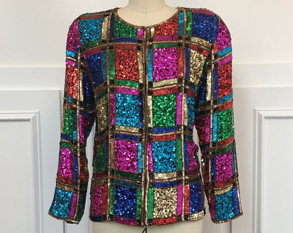 Robert Anthony Sequined Beaded Cocktail Evening Jacket Size Medium / PLUS SKU 10519CL)
