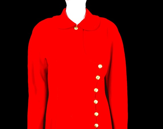 Vintage Chanel Red Wool Day Dress Made in Paris (SKU 10993CL)