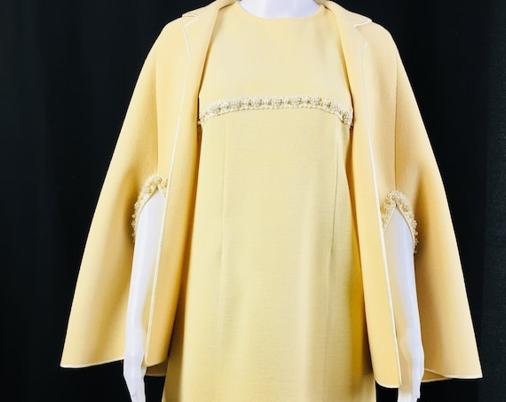 MOD Ivory / Cream 2 PC Knit 1960s Dress and Matching Cape with Faux Pearl and Applique' Trim (SKU 10398CL)