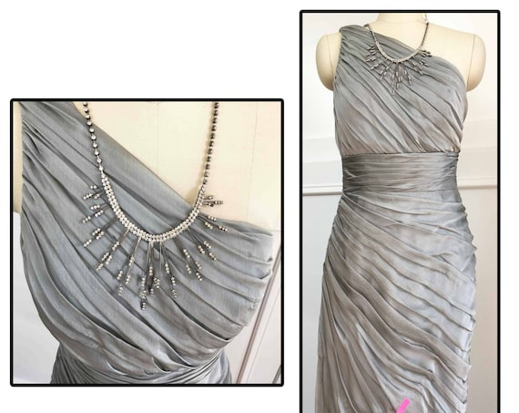 ML Monique Lhuillier Bridesmaid Gray Chiffon Ruched Bridesmaid / Cocktail Dress Size 4 (SKU 10117CL)