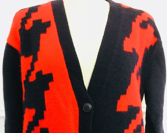 SK & Company Red and Black Oversized Houndstooth Lego Pacman Look 199s Cardigan Sweater PLUS Size (SKU 10586CL)