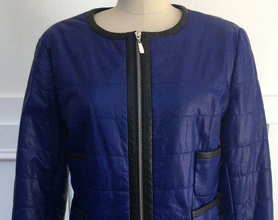 Brilliant Blue and Black Peter Nygard Vegan Leather Jacket--US 14/PLUS  (SKU 10531CL)