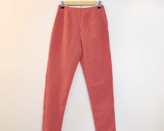 Vintage 1990s does 1950s Red Gingham Cigarette Pin Up Pants by Mark Farrel Ltd. Size 7 / 8  (SKU: 11029CL)