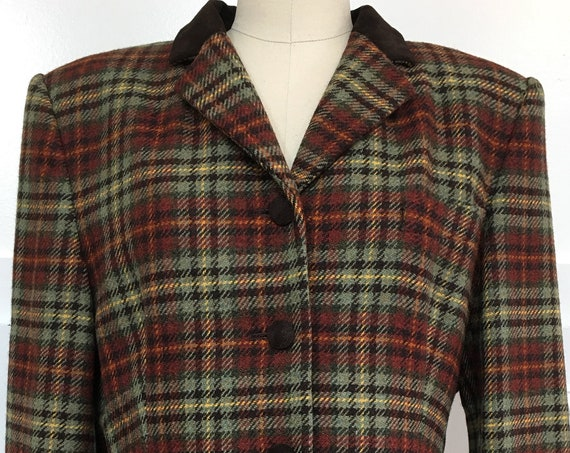 Laura Ashley Wool Plaid 1990s Equestrian / Riding Jacket With Suede Collar US Size 12  (SKU 10630CL)