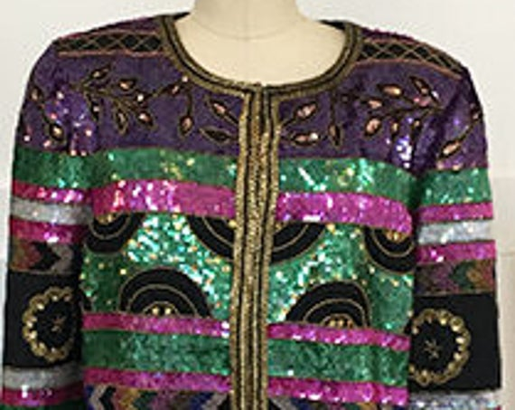 Creative Creations Hand-Sequined and Beaded 1980s / 1990s Cocktail / Evening Jacket Size Large  (SKU10511CL)