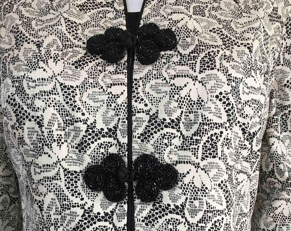 Safe Silk by Adrianna Papell Black and White Floral Patterned 1990s Silk Jacket with Black Frog Closures Size US 8  (SKU 10141CL)