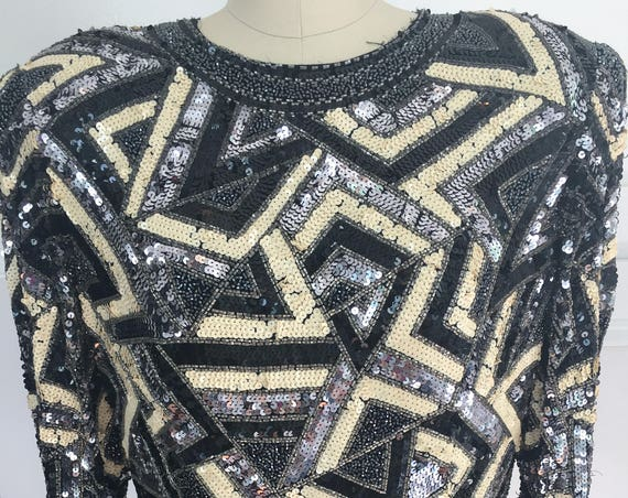 Black Tie Art Deco Style Abstract Patterned 1980s Black and Cream Heavily Beaded and Sequined Evening Top Size Large (SKU 10158CL)
