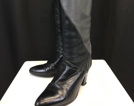 Dior Spectacular! Two-Tone Leather Tall Wide Shaft 1980s / 1990s  Delly Boots Superb Condition!  Size US 7.5B  (SKU 10861SH)