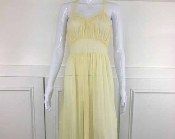 Sexy Pale Yellow Ethereal Sheer Vintage Nightgown (SKU 11004CL)