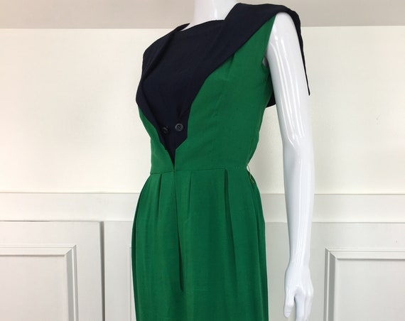 Mademoiselle Ricci Paris 1950's Color Block Green and Navy Dress International Ladies Workers Union Label (SKU 111002CL)