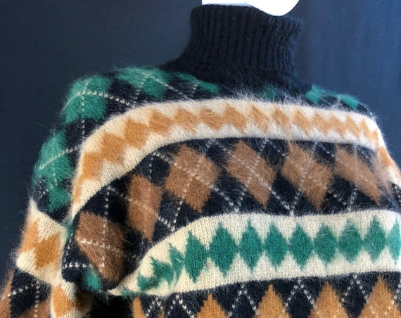 Rafaella Angora Argyle 1970s Turtleneck Sweater Size Large / PLUS  (SKU 10848CL)