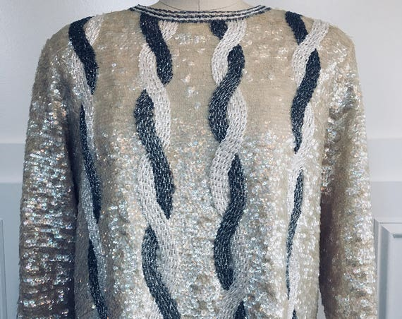 Frederick and Nelson Silver Gray & White Iridescent Sequined and Heavily Beaded 1980s Sweater (SKU 10475CL)