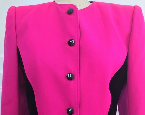 Ungaro Paralle Paris Two Piece Hot Pink and Black Velvet Italian Made 1980s Skirt Suit Size 10 (SKU 10352CL)