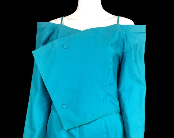Vintage Rare Allison Goulard Blue Structured Skirt Suit Made in France (SKU 10992CL)