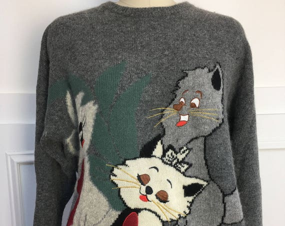 Lady Laura Adorable 1990s Gray Irish Wool Christmas Kitty Sweater Plus Size  (SKU 10581CL)