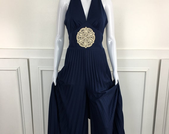 1970s Vintage Palazzo Pant Accordion Pleated Jumpsuit with Macrame Medallion - Size 11 / 12  (SKU 11017CL)