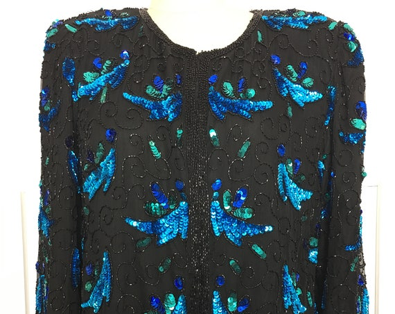Denise Elle Vibrantly Hand Sequined and Beaded Silk Evening Jacket Size Large  (SKU 10518CL)