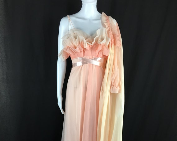 Vintage Peignoir Set Peach Ruffles Robe and Gown 50's/60's  (SKU 10346CL)