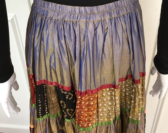 Fantastic 100% Iridescent Silk BOHO Midi/Maxi Skirt by Anu by Natural—Size Large (10268CL)