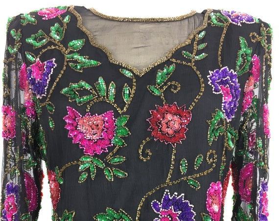 Laurence Kazar Silk Modest Hand Sequined and Beaded 1980s Top Size Large  (SKU 10512CL)