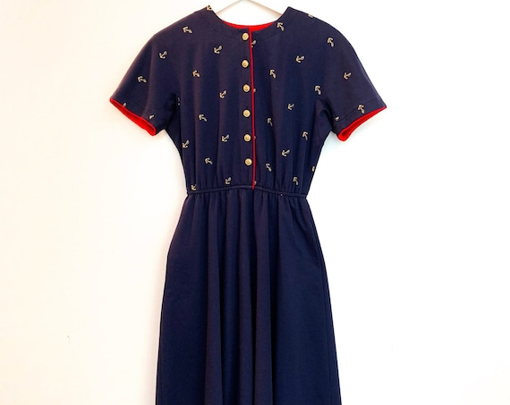 California Design Petite by Dorothy Samuel Nautical Navy Dress with Red Trim and Gold Anchor Embroidery and Buttons Size 6 P  (SKU 10260CL)