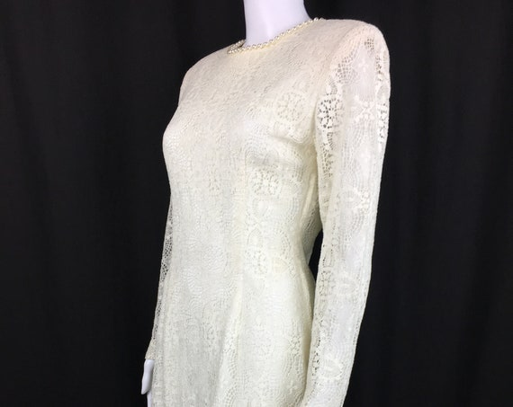 Gorgeous Vintage Ivory 1990s Lace Dress / Wedding Dress With Sexy Plunging Back Trimmed with Pearls  (SKU 10163CL)