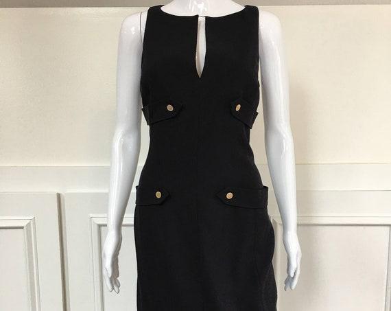 Valentino Roma 1980s Deep Navy Sleeveless Keyhole Front Light Weight Wool Dress Sz 8 US / EU 44   (SKU 10219CL)
