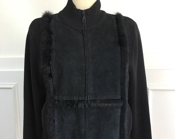 Chic Black Suede Cynthia Steffe Zip Front Jacket with Rabbit Fur Trim--Sz. Large (SKU 10055CL)