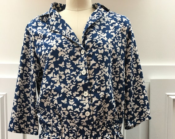 Butterfly Print PaperDenimCloth Navy Blue and White Summer Romper Large (SKU 10218CL)