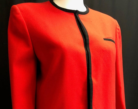 Garfinckel's Sanyo? 1980s Lightweight Wool Red Blazer with Black Trim Marked Size 8 But PLUS Sized (SKU 10419CL)
