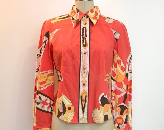 Emilio Pucci Firenze 1990s Coral Psychedelic Button Down Blouse with Signature Pattern and Emilio Signature Size US 10 (SKU 11033CL)