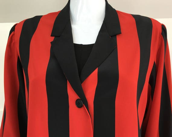 Bold Vertical Black and Red Striped Albert Nipon  1980s Size 12 (SKU 10207CL)