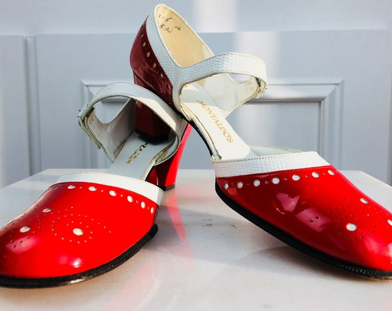 "MOD Rinaldi ""Montaldo"" Red Patent and White Embossed Leather MOD Mary Jane Style Heels/New Old Stock Size US 8.5  (10271SH)"