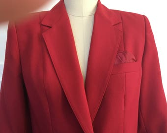1980s Pristine Vintage Sasson Deep Red Skirt Suit--Sz. 4-5 ( SKU 10529CL)