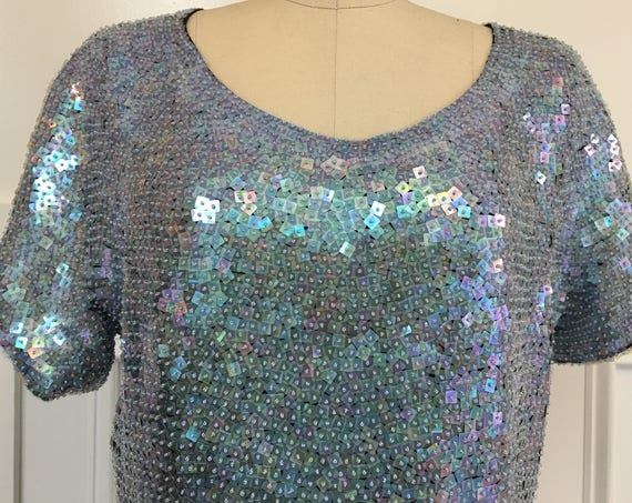 Doncaster PLUS Sized Iridescent Sequined Silk Short Sleeved 1980s Evening Top Size 12 / PLUS  (SKU 10522CL)