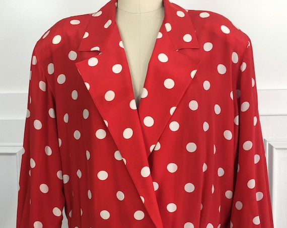 Geoffrey Alexander for Private Agenda 1980s Red and White Polka Dot Silk Jacket / Blouse Size 12 / PLUS (10179CL)