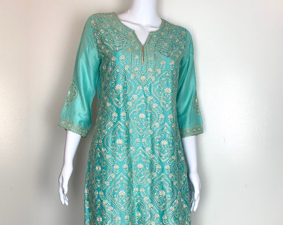 Biba Indian Turquoise Cotton Silk Tunic Top with Gold Silver and White Embroidery Size 36 ( SKU 11031CL)