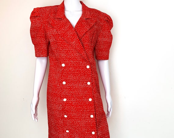 Vintage 1980s All That Jazz Red and White Polka Dot Cotton Suit Dress PLUS Size Suit Dress (SKU  11035CL)