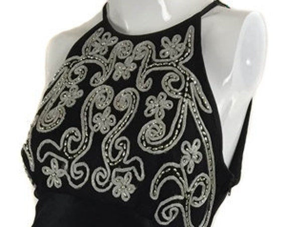 Zum Zum Black Sexy Satin Backless 1990s Halter Evening Gown with Embroidered and Beaded Bodice (SKU 10031CL)