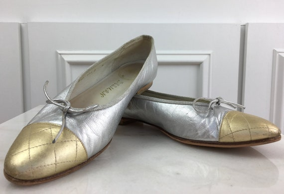 Gold and Silver Metallic Cap Toe Quilted Leather Delman Ballet Flats Size 10N (10282SH)