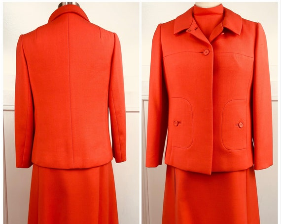 Bert Geiger Very Rare! MOD 1960s Orange Dress with Matching Jacket and Long Silk Scarf (SKU 10731CL)