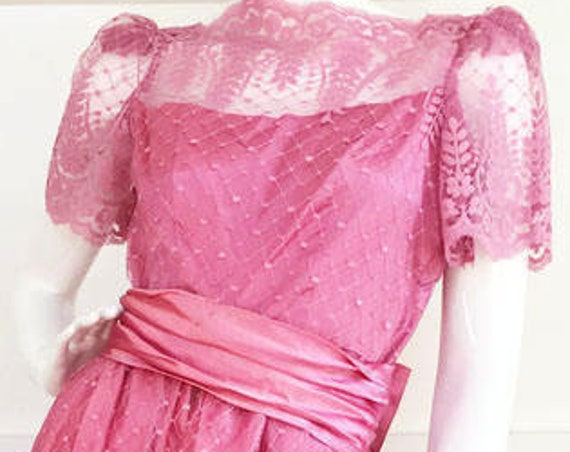 Alycia Dusty Rose 1970s Satin Gown with Lace Overlay Short Sleeves Matching Satin Belts and Bow Size 7 / 8  (SKU 10096CL)