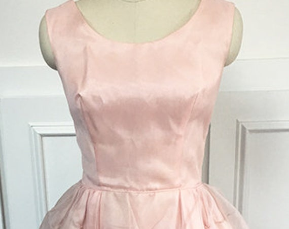 """Pale Pink Frothy Chiffon 1960s """"Jackie"""" Party Dress with Seed Pearls Terrific Condition!  Union Made in USA! (SKU 10159CL)"""
