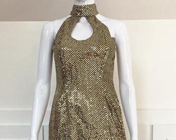 Super Sexy 1990s Vintage Solid Gold Paillette Halter Gown  (SKU 10439CL)