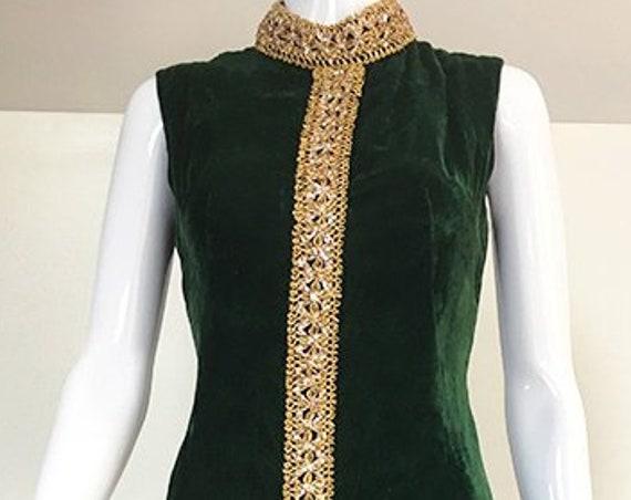 MOD 1960s / 1970s Sleeveless Green Velvet Hostess Evening Gown Dress with Gold Metallic Glitter Trim  (SKU 10451CL)