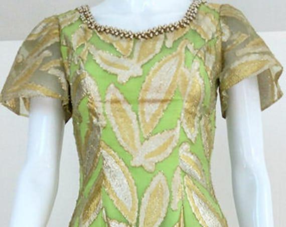 Ann's Vogue Shoppe Lime Green & Gold Metallic 1960s / 1970s Hostess Gown  (SKU 10466CL)