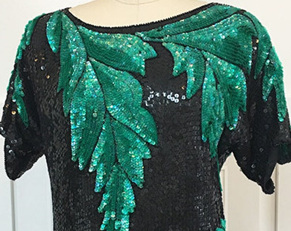 Chetan Creations Hand Sequined and Beaded Black with Green Leaf 1990s Cocktail Top Size Large  (SKU 10506CL)