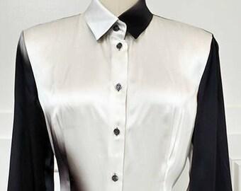1990s Silk Escada Black, White and Gray Degrade Patterned Blouse--Sz. EU 36 (SKU 10383CL)