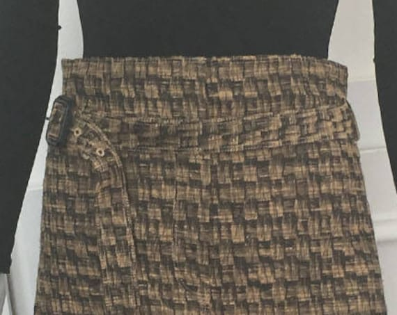 Burberry Brown and Black Knee Length Cotton Blend 1990s Skirt with Paper Bag Waist and Matching Belt Plus Size (SKU 10152CL)