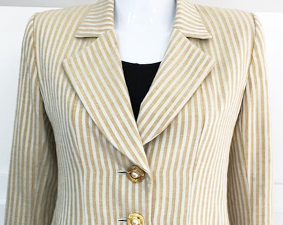 Yves Saint Laurent Rive Gauche Gold and Ivory 1090s Blazer with Extraordinary Details  Size EU 40 (SKU 10208CL)